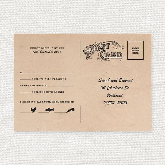 vintage style wedding rsvp postcard diy printable file With wedding rsvp cards postcard style
