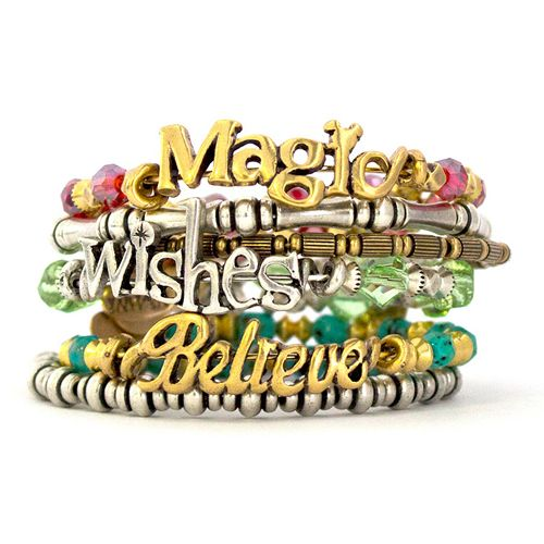 Your WDW Store - Disney Alex and Ani Charm Bracelet - Wishes Wrap - Silver & Green