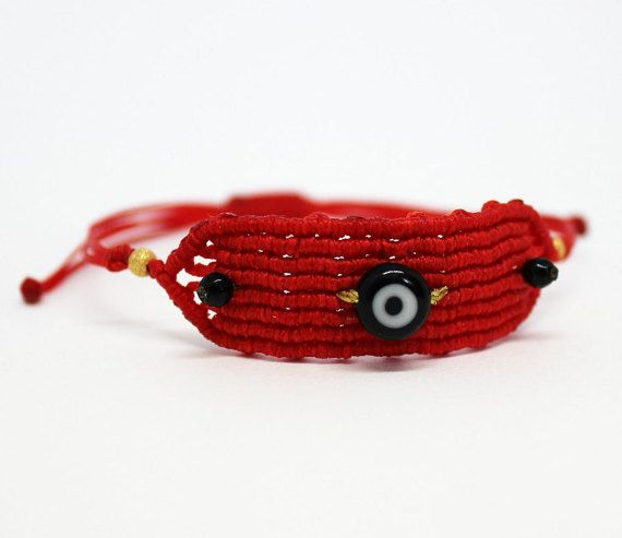 Red macrame friendship braceletHand knotted by MyCraftYourArt