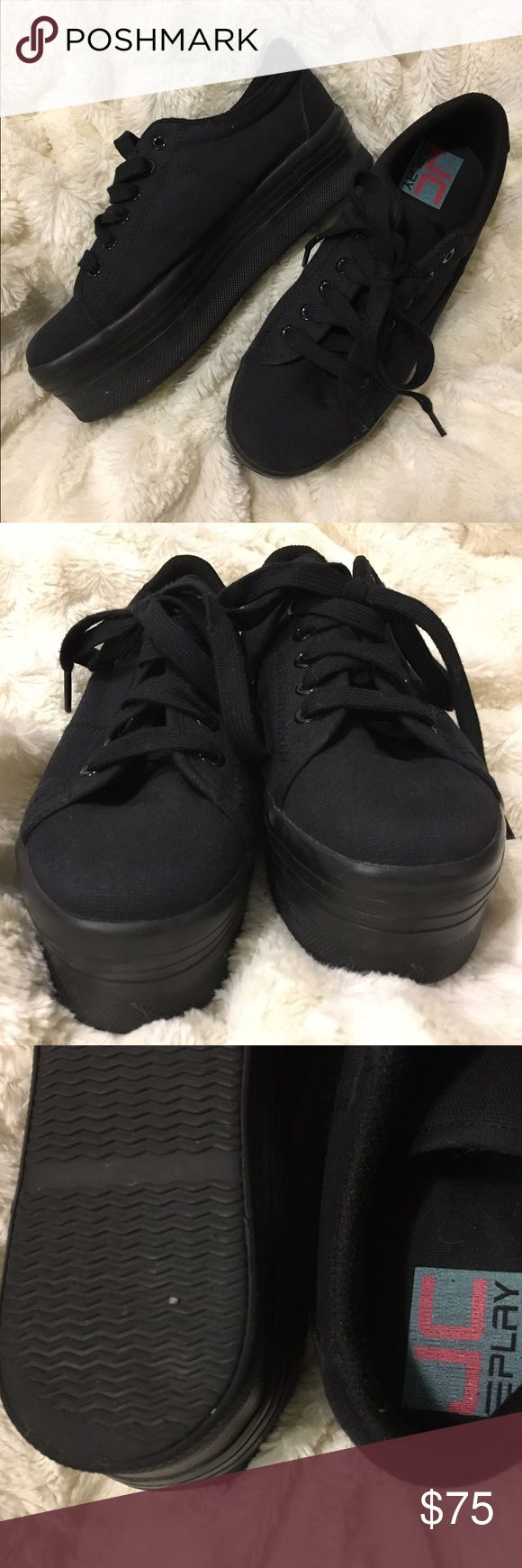 Jeffrey Campbell platform PLAY tennis shoes Jeffrey Campbell Play platform tennis shoes in all black. They are in great condition other than a little wear on the heels. Size 8 UK but I normally wear a size 7.5 and they fit perfect. These shoes are actually super comfortable and are a badass statement piece to any look! Jeffrey Campbell Shoes Platforms
