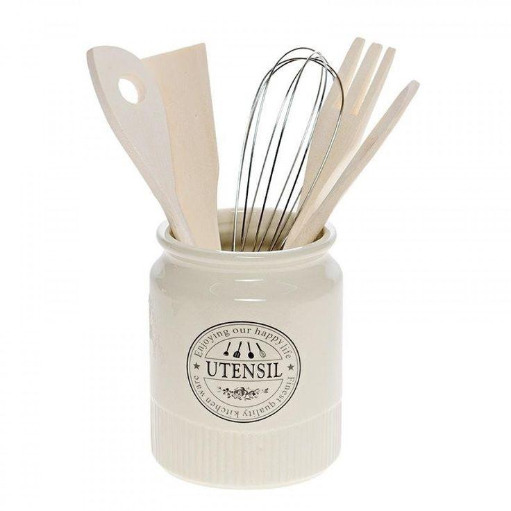 Εργαλεία Κουζίνας σε Πορσελάνινο Βάζο (Σετ 5τεμ)