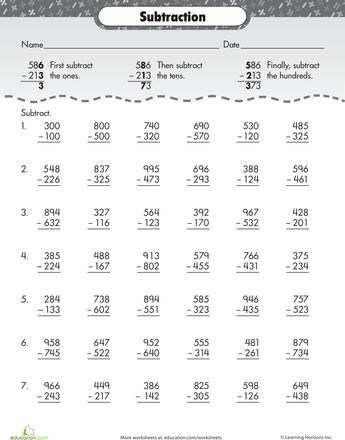 Worksheets: Extra Practice: Three-digit Subtraction