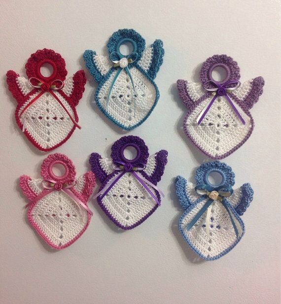 Free Crochet Angel Square Patterns : Crochet Kitchen Angel Granny Square Magnet - your choice ...