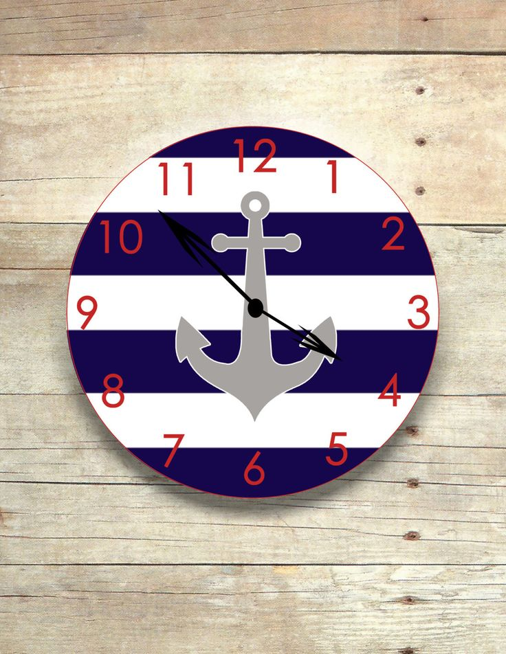 Round Anchor Wall Clock-Navy/White
