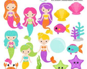 Mermaids Clipart Set clip art set of by mycutelobsterdesigns