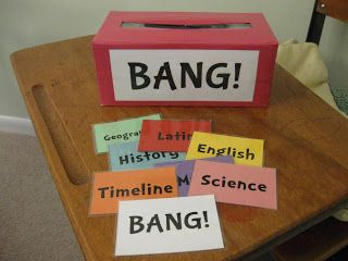"""Classical Conversations review game, """"Bang!""""  Tissue box wrapped in duct tape, student pulls out a topic card, if they can say the memory work they keep the card.  (if not, put it back) If they pull out the """"bang"""" card, they need to put back all the cards they've collected."""