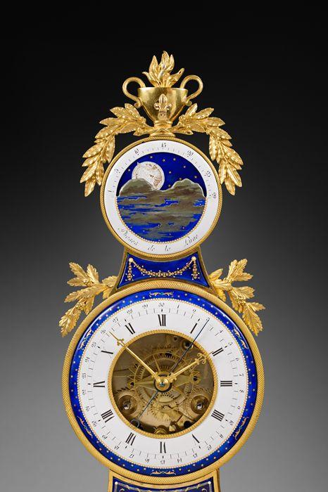 c1795 Joseph Coteau - Rare Enamel, Gilt Bronze and White Carrara Marble Skeleton Clock, Directory period