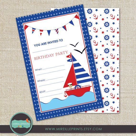 20 best birthday invitation card images on pinterest invitation 12 prints sailing birthday invitation card by mireilleprints 2400 stopboris Gallery