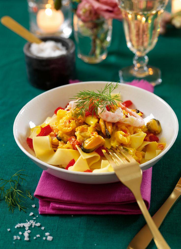Recept pasta med krämig skaldjurssås