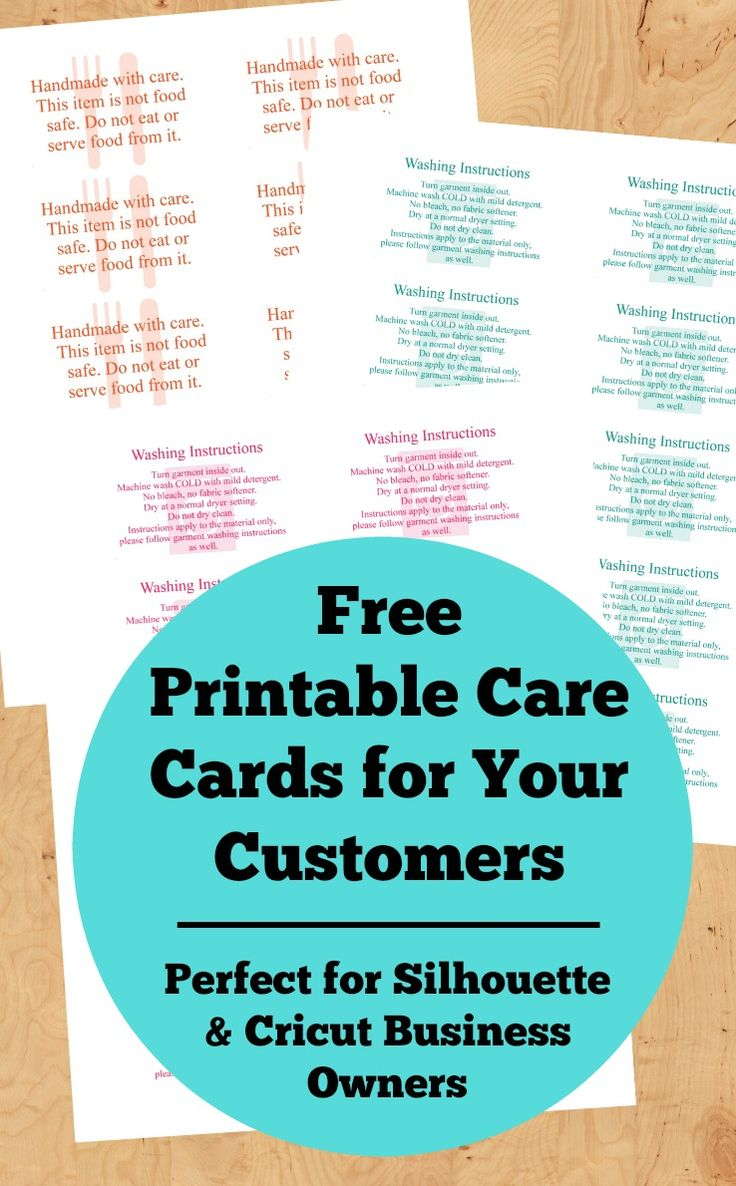 Free, Printable Care Cards for Your Silhouette or Cricut Business (Not Food Safe, HTV Washing Instructions, and Not Dishwasher Safe) for your Silhouette Cameo or Portrait and Cricut Explore or Maker small business - by cuttingforbusiness.com