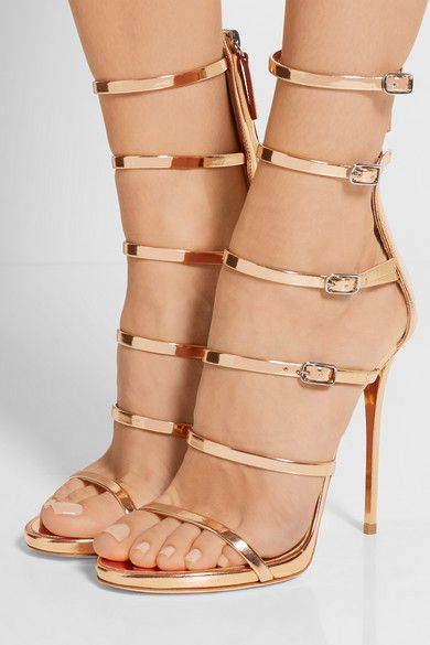 Heel measures approximately 120mm/ 5 inches Rose gold mirrored-leather Zip fastening along back Made in Italy