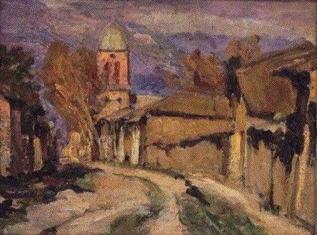 """Juan Francisco González, """"Callejón de San Fernando"""". Pintura chilena."""