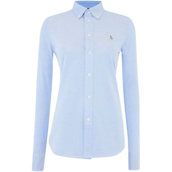 Polo Ralph Lauren Heidi oxford stretch shirt ($135) ❤ liked on Polyvore featuring tops, shirts, blouses, long sleeves, blue, women, long sleeve tops, blue shirt, oxford shirt and long sleeve shirts