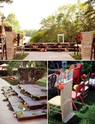 wooden pallets create a stage for the ceremony and miss match chairs