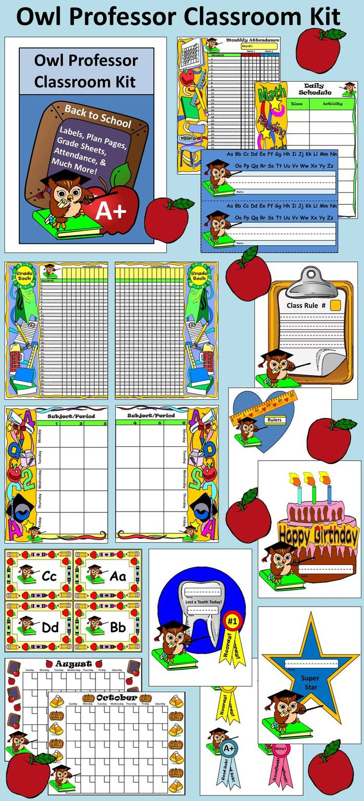 Owl Professor Classroom Kit: Contains classroom management items. Print out, fill in, and cut out. Kit includes color & b/w versions.  Contents include: * Desk Nameplates * Classroom Rules Template * Classroom Supply Labels * Super Student Template * Birthday Celebration Template * Lost a Tooth Template * Ribbon/Medal Templates * Word Wall Heading Cards * Daily Schedule Sheets * Weekly Attendance Sheet * Monthly Attendance Sheets * Grade Book Sheets * Lesson Plan Sheets * Set of Calendar…