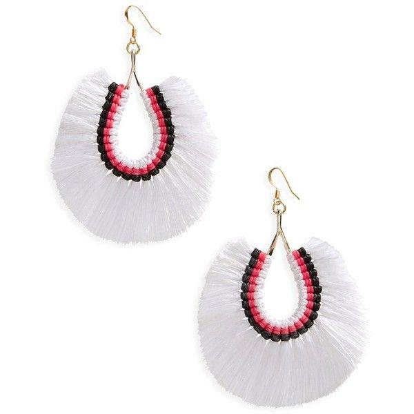 Women's Panacea Fan Tassel Earrings (£16) ❤ liked on Polyvore featuring jewelry, earrings, white, tri color hoop earrings, white tassel earrings, boho earrings, tassel earrings and tri color earrings