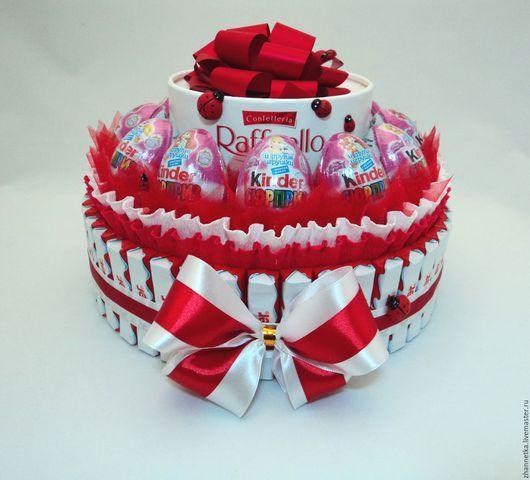 """Букеты ручной работы. Ярмарка Мастеров - ручная работа. Купить Тортик """"Киндер-сюрприз"""".. Handmade. Комбинированный, подарок на день рождения"""