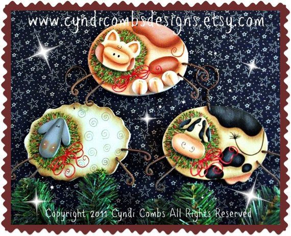 CC105  Christmas on the Farm Ornaments  by CyndiCombsDesigns
