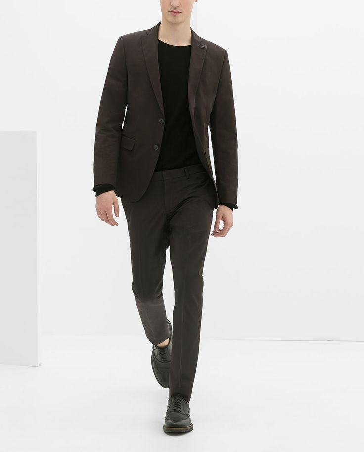 Zara S Brown Men Suit With Black Sweater For A Great Casual Look