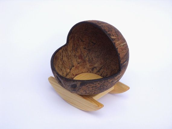 Wooden Doll Cradle, Children Toy, Christmas, Birthday Gift, Coconut shell, Waldorf inspired
