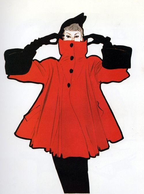 Fashion illustration by Rene Gruau, 1950s.