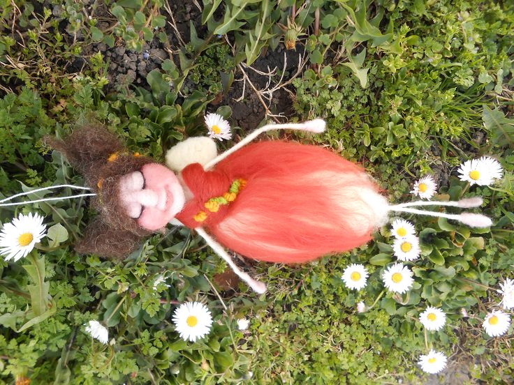 Floral Spring Fairy likes gently waving on the wind. As wool is a material that can best express my imagination, this Fairy is a unique character with precisely made details. It is made using needle felting techinique. Trough her long elegant arms and legs extends wire which is coated with wool. Her dress is so soft and fluffy but has its firmnes. She has a sleepy face which tickles our imagination.