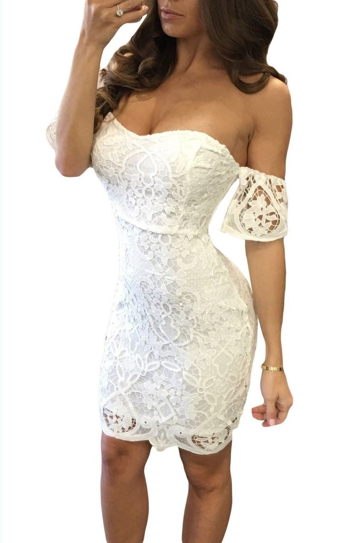 Off Shoulder Pure Color Short Sleeves Short Lace Dress  #girls #outfits #onlineshopping #fashion #ohyoursfashion