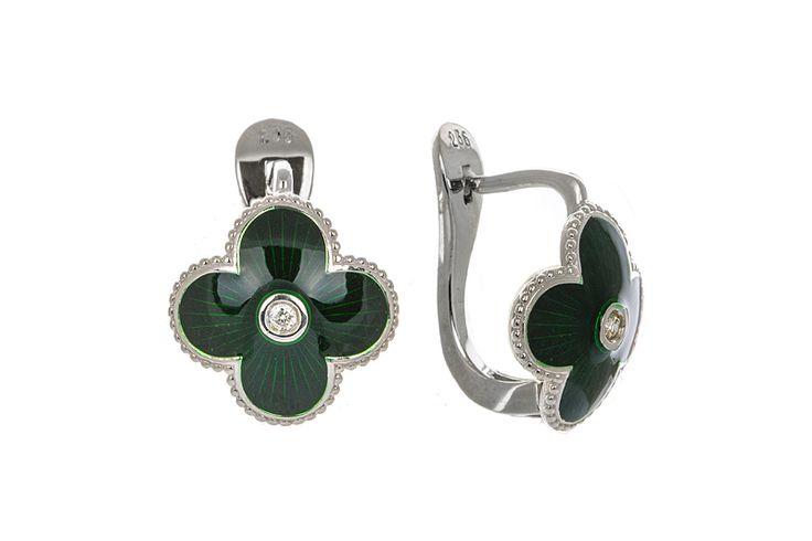 Серьги с бриллиантами и эмалью, серебро (925), 761292 – купить в Русских Самоцветах