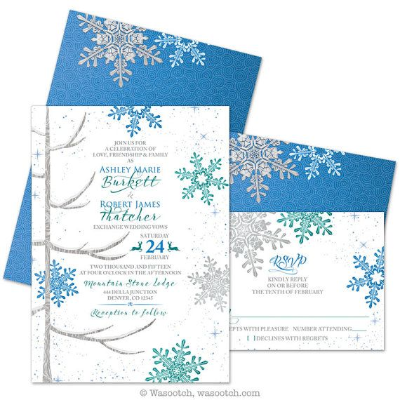 Royal Blue and Jade Green Snowflake and Tree Winter Wedding Invitation and RSVP Card by wasootch on Etsy. This listing is for printed invitations and reply cards. Comes with envelopes for each. Also includes USPS priority shipping.