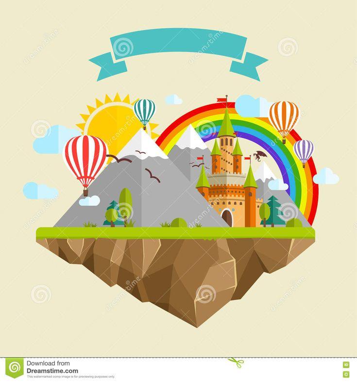 Vliegend Eiland Met Sprookjekasteel, Ballons, Bergen, Wolken, Bomen, Zon, Regenboog, Draak En Lint - Downloaden van meer dan 50 Miljoen hoge kwaliteit stock foto's, Beelden, Vectoren. Schrijf vandaag GRATIS in. Afbeelding: 75140790