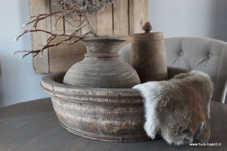 Oude ronde houten bak 58 cm oude troggen bakken for Landelijke woonaccessoires