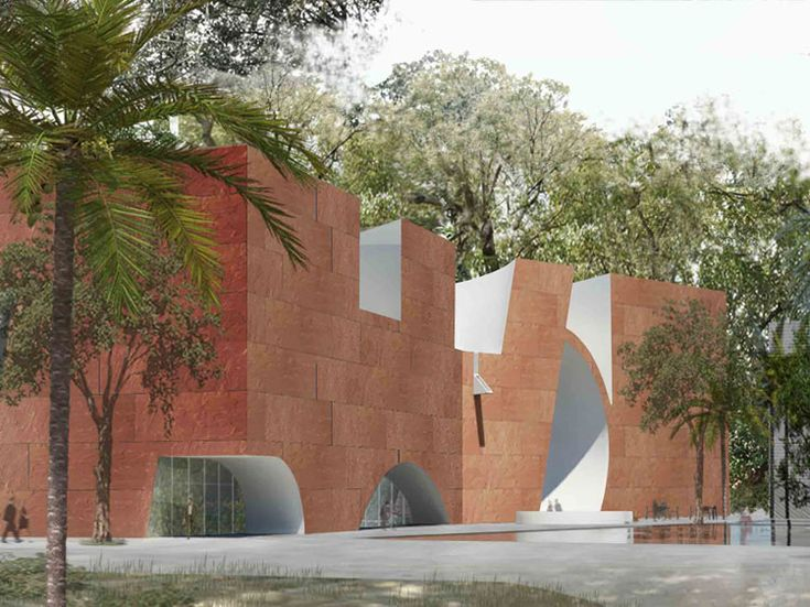 "Mumbai's oldest museum garden in Byculla will have a 125,000 sq ft new wing. The Mumbai City Museum's North Wing addition is envisioned as a sculpted subtraction from a simple geometry formed by the site boundaries. The concept of ""Addition as Subtraction"" is developed in white concrete with"