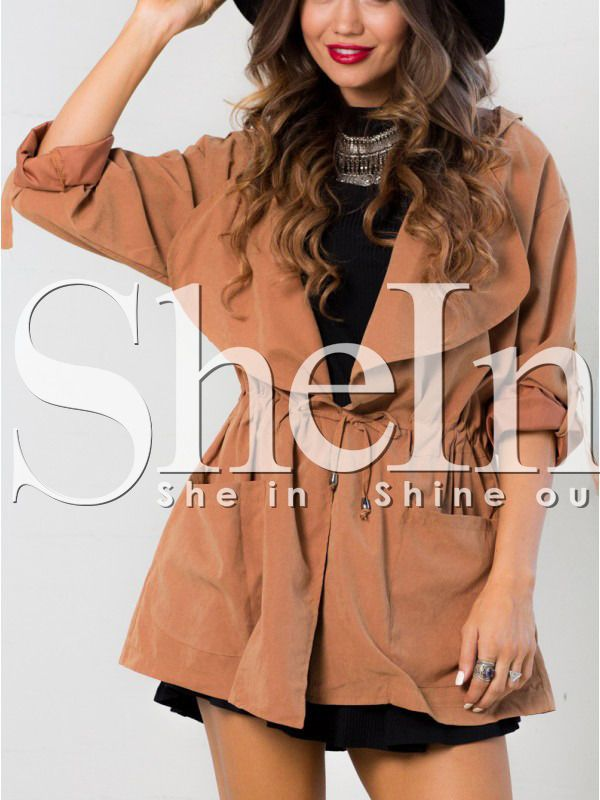 Shop Orange Hooded Lapel Drawstring Coat online. SheIn offers Orange Hooded Lapel Drawstring Coat & more to fit your fashionable needs.