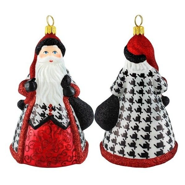 Joy To The World Collectibles 'Glitterazzi' Santa Ornament ($71) ❤ liked on Polyvore featuring home, home decor, holiday decorations, houndstooth, glass ornaments, santa hand ornaments, santa claus hand ornament, handmade glass ornaments and father christmas ornament