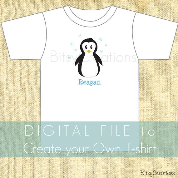 Penguin Digital File Create Your Own Tshirt DIY by BitsyCreations, $5.00