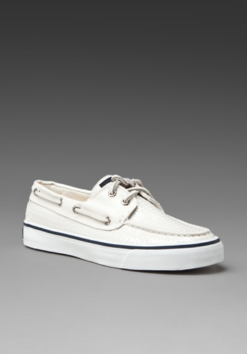white Sperrys with Navy stripe