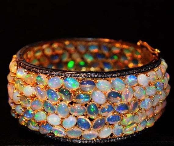 Very Beautiful Diamond and Ethiopian Opal Hand made Bangle Bracelet in 92.5 silver, 24 karat gold polish #opalsaustralia