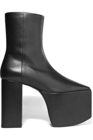 Balenciaga | Leather platform ankle boots | NET-A-PORTER.COM