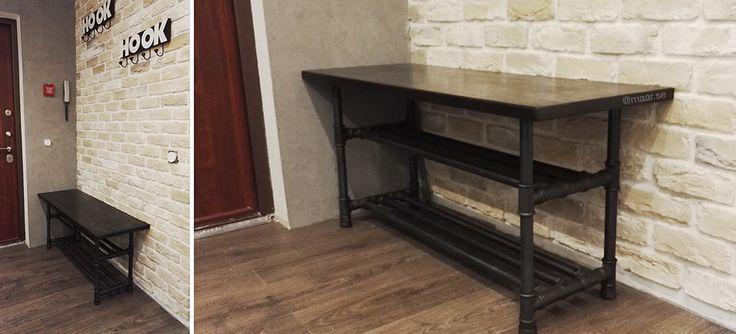 Shoes shelf entry loft. Pipe entry bench. Pipe furniture. Лофт скамья с полкой для обуви для прихожей. Прихожая лофт.