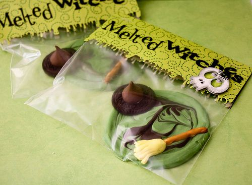 Melted Witches in a bag.: Food Gifts, Wax Melted, Hershey Kiss, Halloween Food, Halloween Treats, Pretzels Sticks, Wizards Of Oz, Melted Witch, Halloween Favors