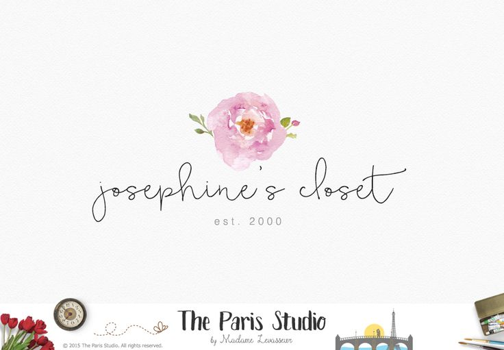Floral Hand Drawn Blog Logo Design - photography branding, website logo, boutique logo, creative business branding or small business logo.