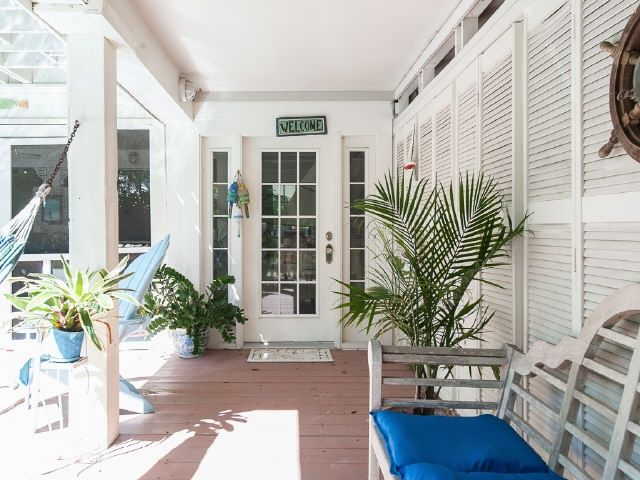 Tropical Front Door with French doors