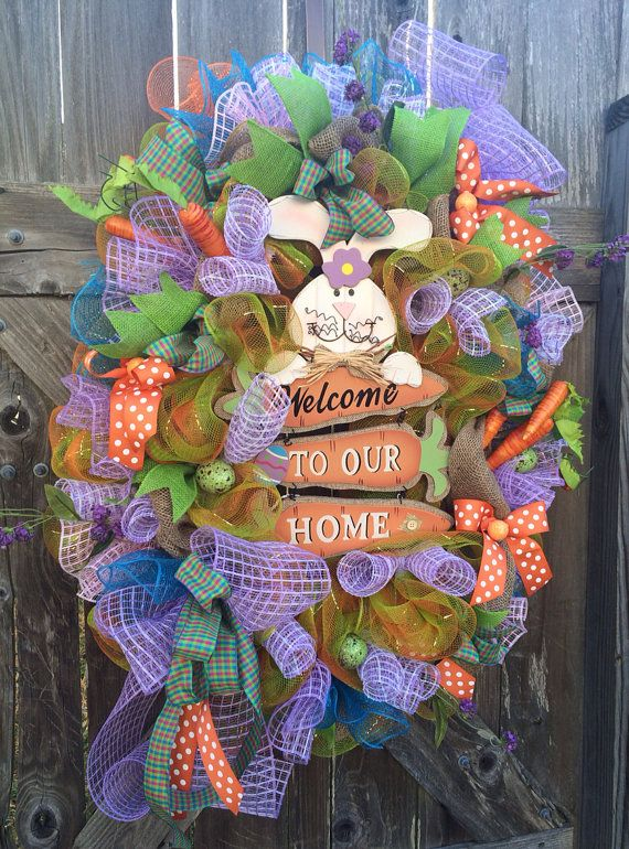 Easter Wreath Easter Deco Mesh Wreath Welcome Easter On