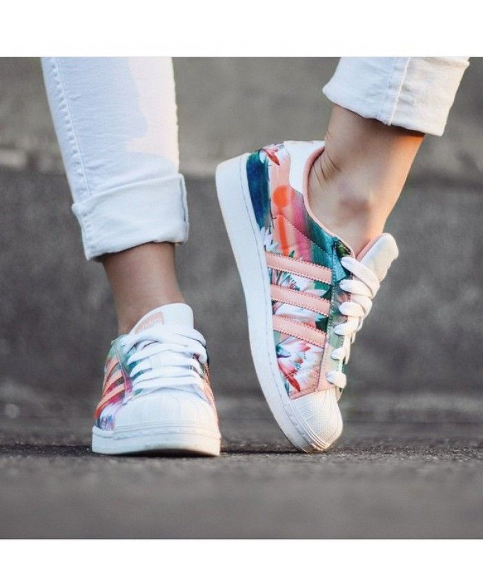 adidas superstar floral trainers