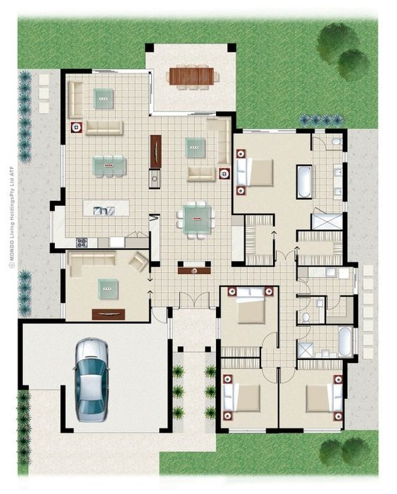 Portifino plan from imagine kit homes: I like the big open space of this home however i do idea the idea of a five bedroom home