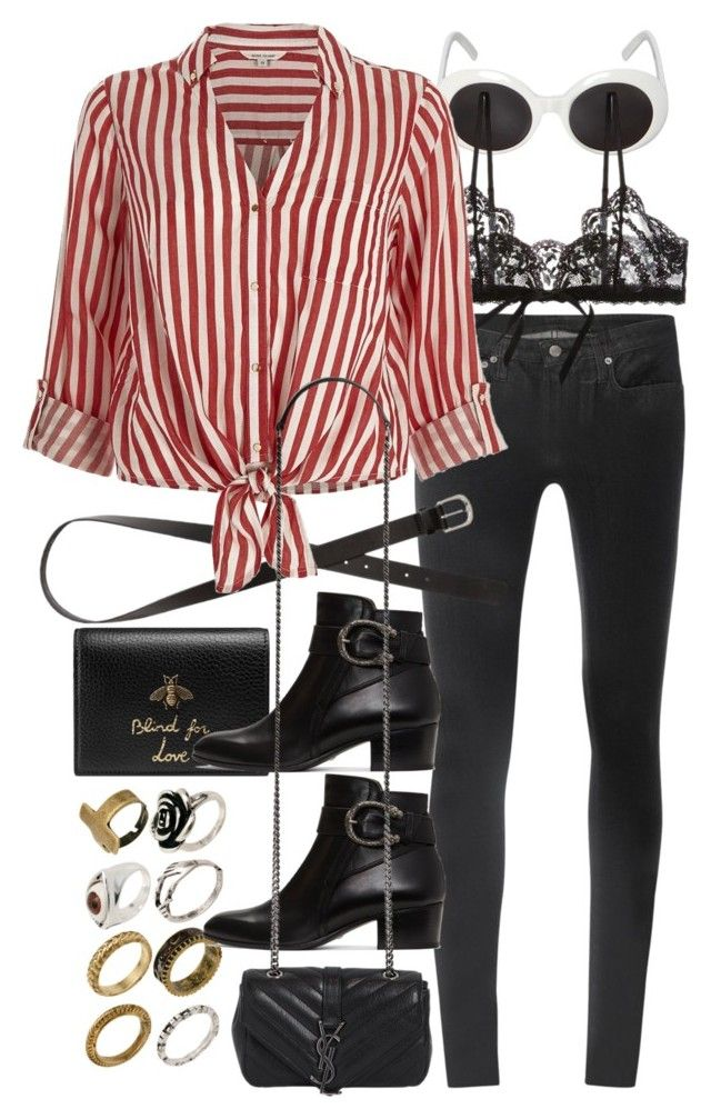 """""""Untitled #10438"""" by nikka-phillips ❤ liked on Polyvore featuring Helmut Lang, Gucci, ASOS, Hanky Panky, H&M, River Island and Yves Saint Laurent"""
