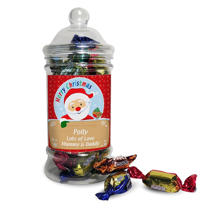 Personalised Santa Toffee Jar This classic shaped sweet jar is filled with delicious toffees and soft centres a great stocking filler Personalise
