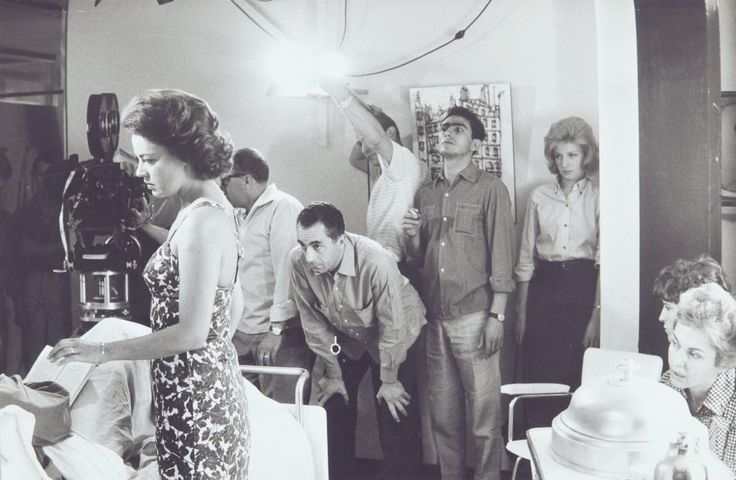 """Jeanne Moreau, Michelangelo Antonioni and Monica Vitti during the filming of the hospital scene of """"La notte""""."""