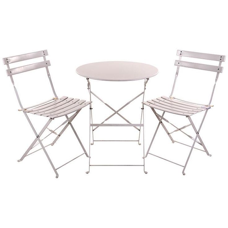 S/3 METAL TABLE IN WHITE COLOR W/2 CHAIRS