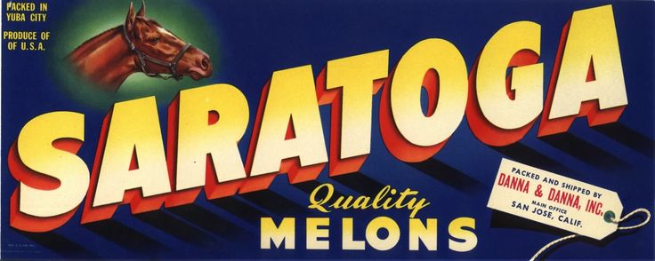Original vintage melon crate label 1940s Saratoga Race Track Thoroughbred Horse San Jose California by LABELBROKER on Etsy https://www.etsy.com/ca/listing/584028215/original-vintage-melon-crate-label-1940s